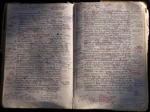 Pages from Danis Rose's personal copy of Finnegans Wake, annotated to indicate, inter alia, sources of words and phrases in Joyce's notebooks. (source; thanks uncertaintimes)