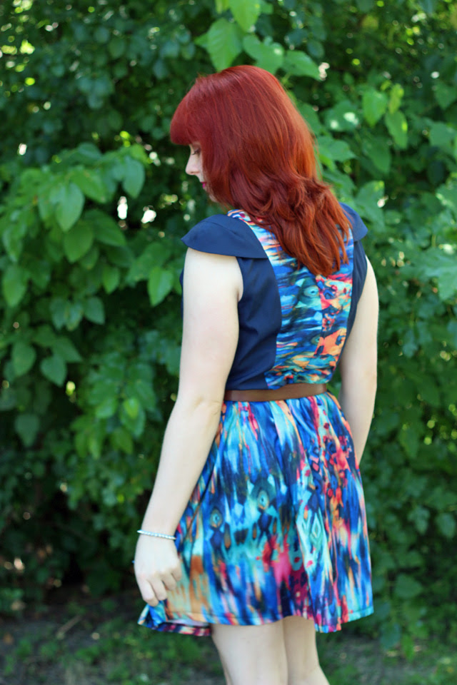 Digital Print Dress and Bright Red Hair