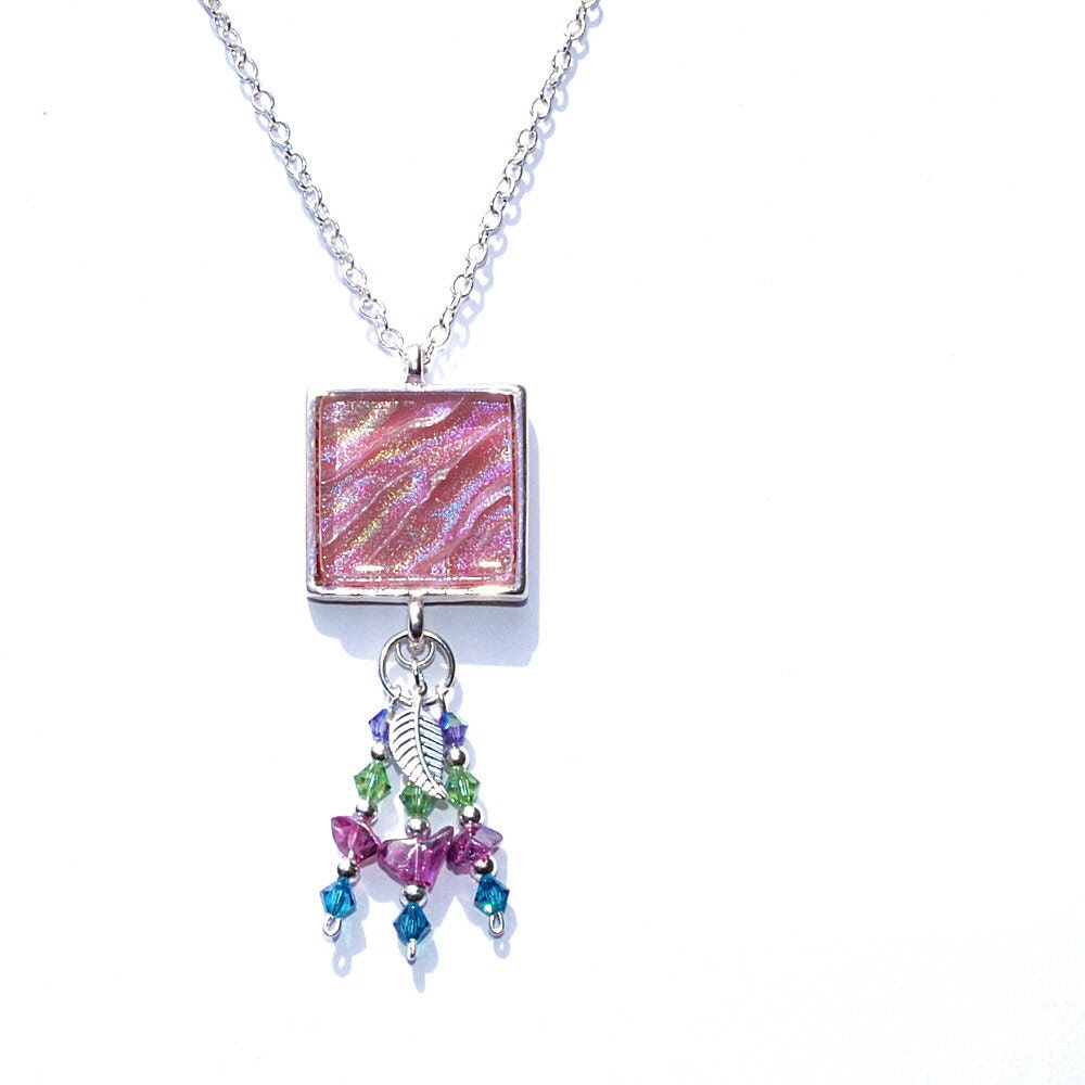 Dichroic Pendant, Swarovski, Boho, Fused Glass Jewelry, Square, Sterling Silver Beads, Dusty Rose, Glass Chips, Leaf (Item 10442-P) - IntoTheLight