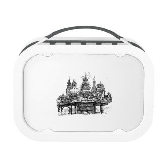 Steampunk Village Lunchbox by Albert Robida