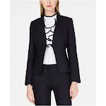 CALVIN KLEIN Womens Navy Wear To Work Jacket Petites