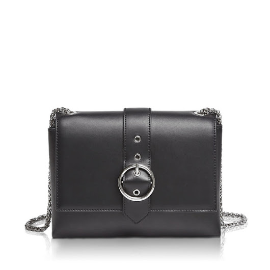 ALEXANDRA Buckle Crossbody Bag - Black | Hieleven Leather Bags