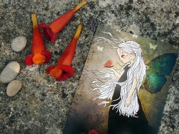La fee papillon...........................Art postcard