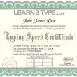 Typing Certificate on Learn2Type.com!