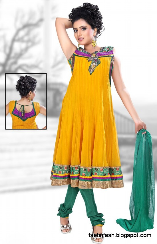 Anarkali Fancy Pishwas Frocks-Anarkali Double Shirt Style Frock New Fashion Dress Designs 2013-2