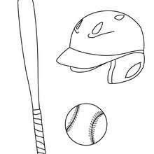 Dibujos Para Colorear Bate Con Casco Y Pelota De Baseball Es