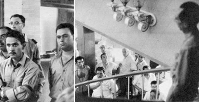 Pepe Velo se dirige a los guerrilleros del DRIL (izquierda) y a la tripulación del paquebote Santa María.