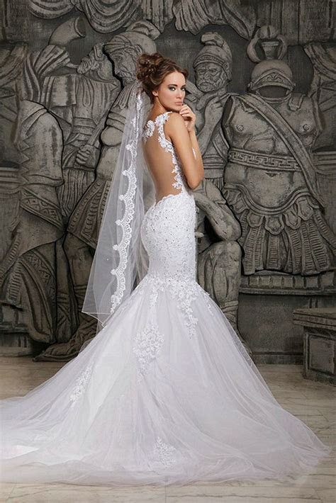 2018 Wedding Dresses Mermaid Applique Lace Spaghetti