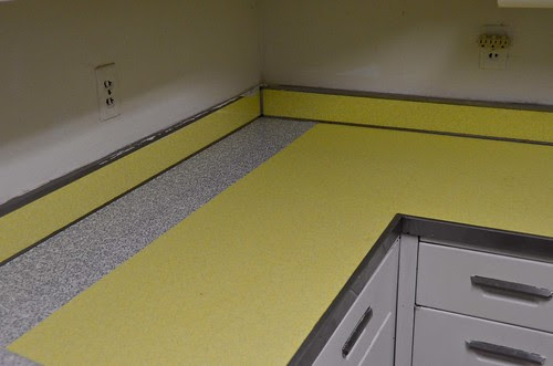 Contact Paper Counters - Step 1 - Apply half width to back of counter