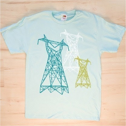 Power Supply High Voltage Electricity LInes Mint-colored T-shirt (S,M,L,XL)