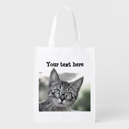 Cute Cat with Glasses Reusable Bag Grocery Bags