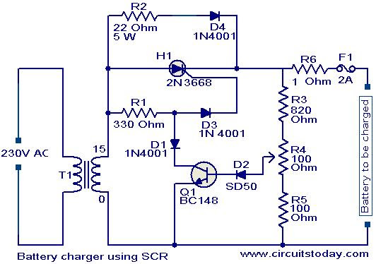 Techvision Srilanka  Battery Charger Circuit Using Scr