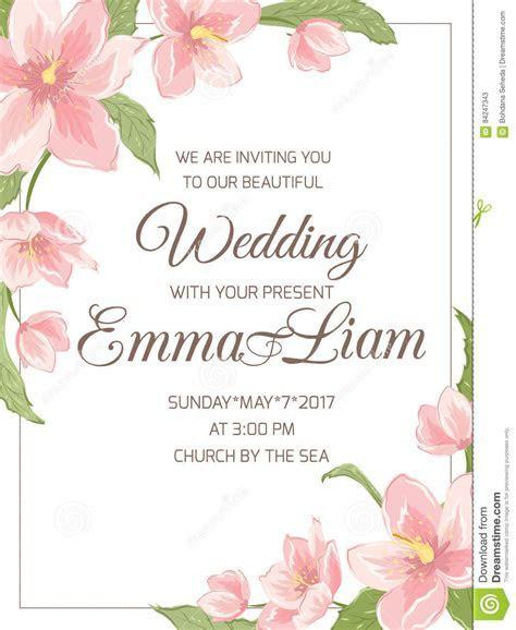 Wedding Invitation Magnolia Sakura Corner Frame Stock