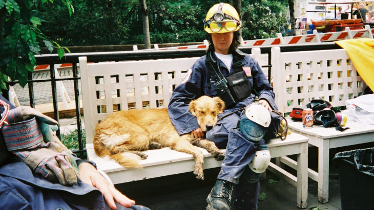 Denise Corliss and Bretagne the search dog at Ground Zero in 2001.
