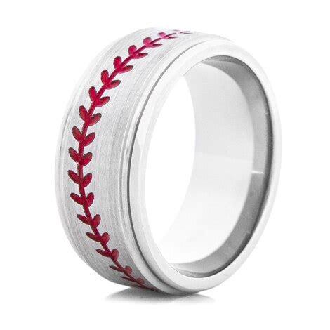 mens grooved titanium baseball ring titanium buzz