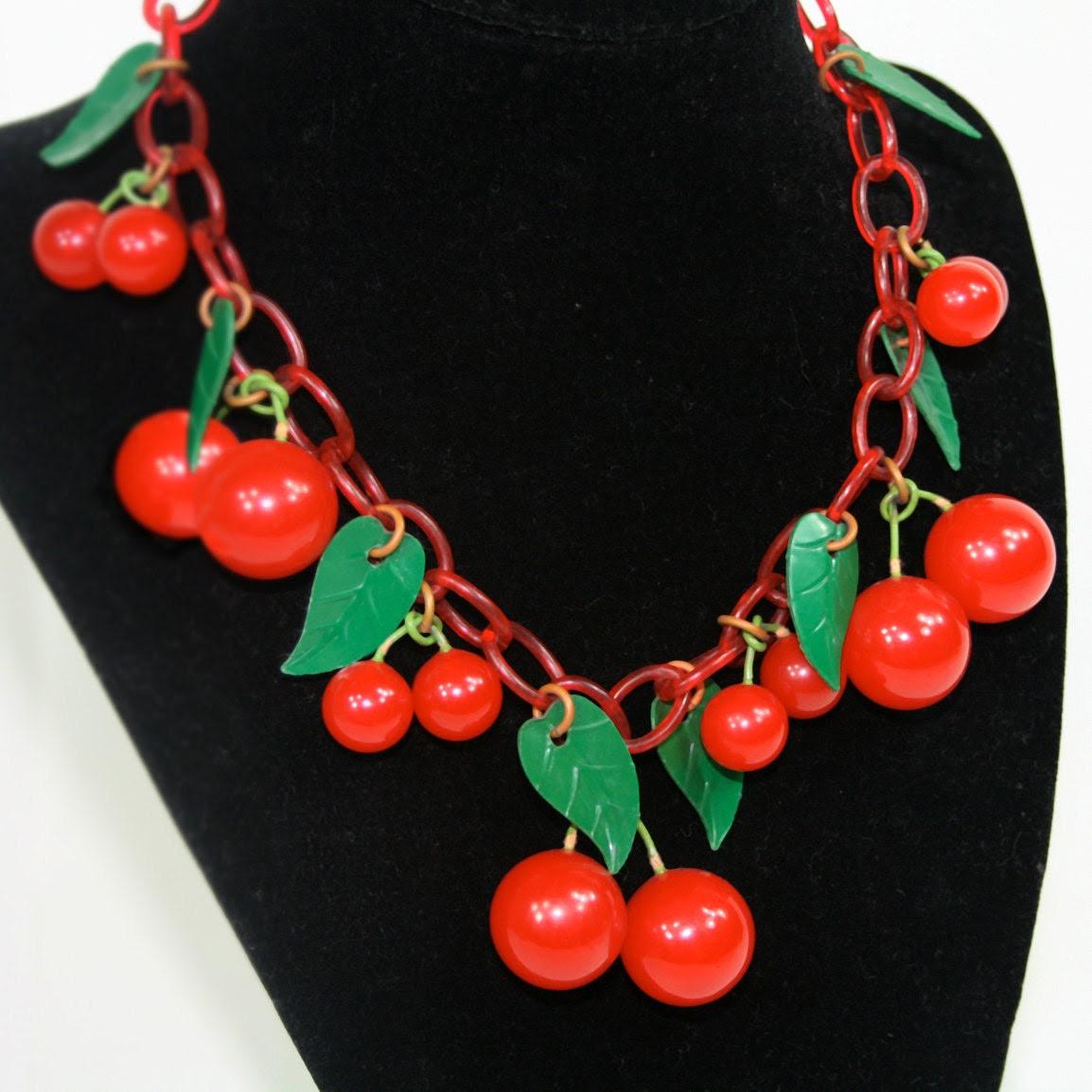 Vintage Bakelite Cherry Necklace