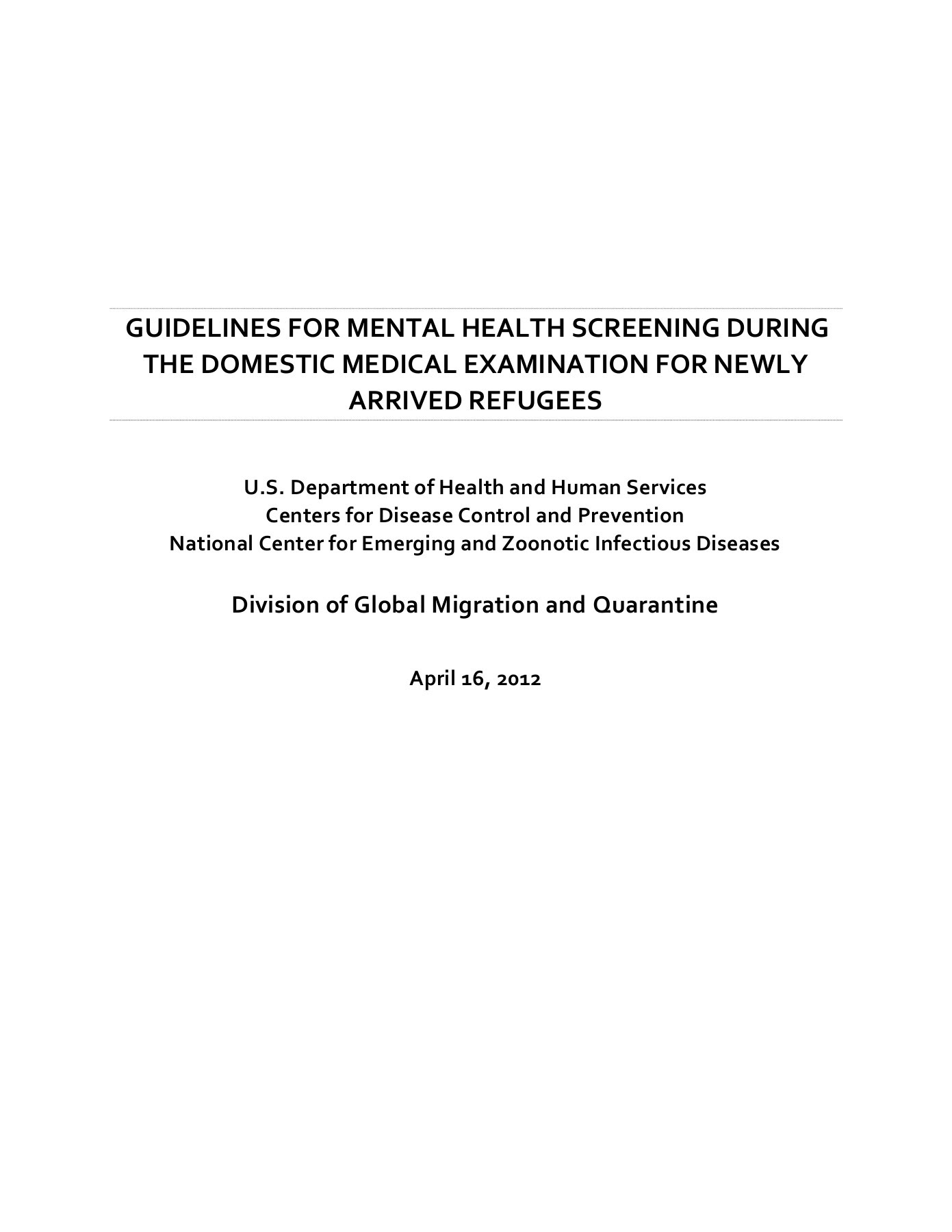 Guidelines For Mental Health Screening During The Domestic