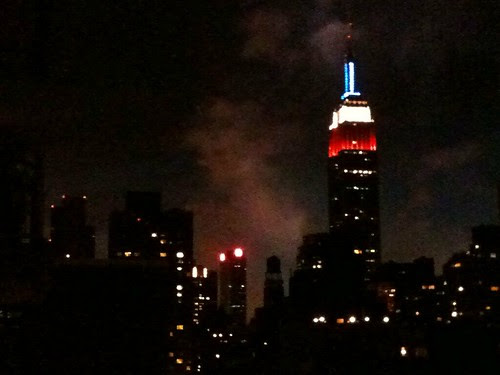 Empire State Bldg & fireworks in the background