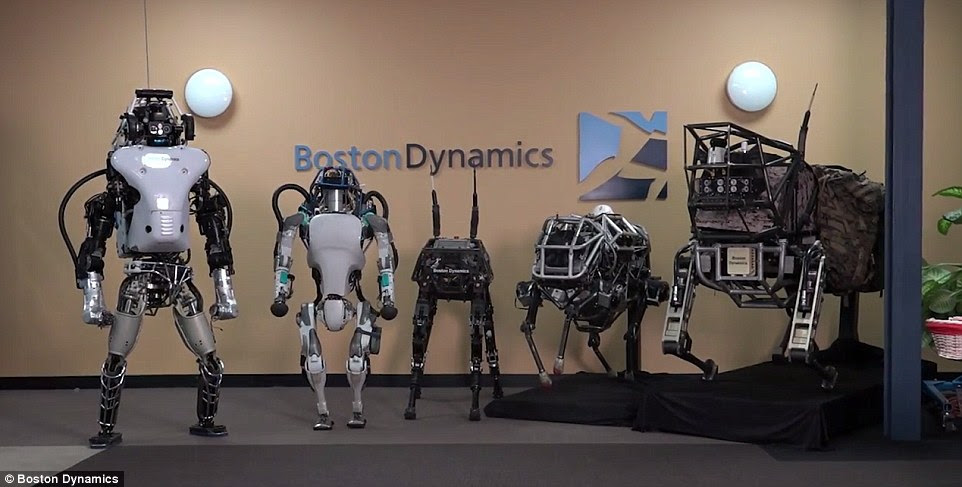 Meet the family: The new robot (second from left) next to the original version, and three versions of Spot, the firm's 'dog robot'