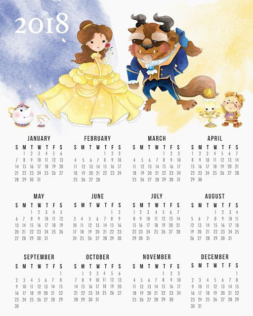Beauty and the Beast Free Printable Calender.