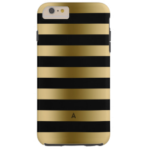 Monogramed Gold & Black Stripes Geometric Pattern Tough iPhone 6 Plus Case