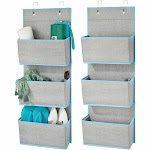 "mDesign 3 Pocket Hanging Fabric Organizer - Pack of in Gray/Teal, 4.5"" x 13"" x 36"""
