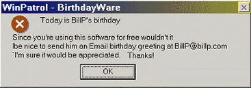 Old Birthdayware Message in WinPatrol version 4.0.2.8