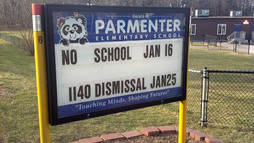 Parmenter School sign 1/8/12