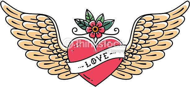 Tatuaje De Corazón Con Alas Flor Y Cinta Con Letras De Amor Estilo