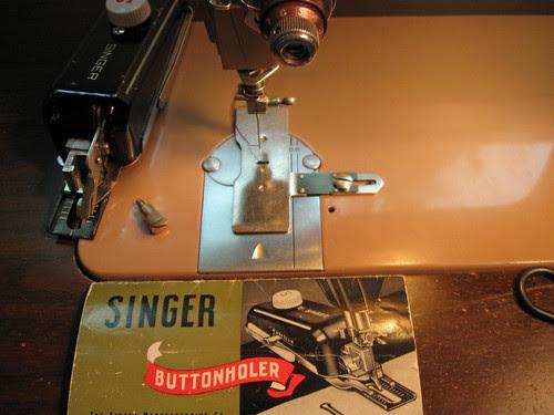 Button hole attachment on machine