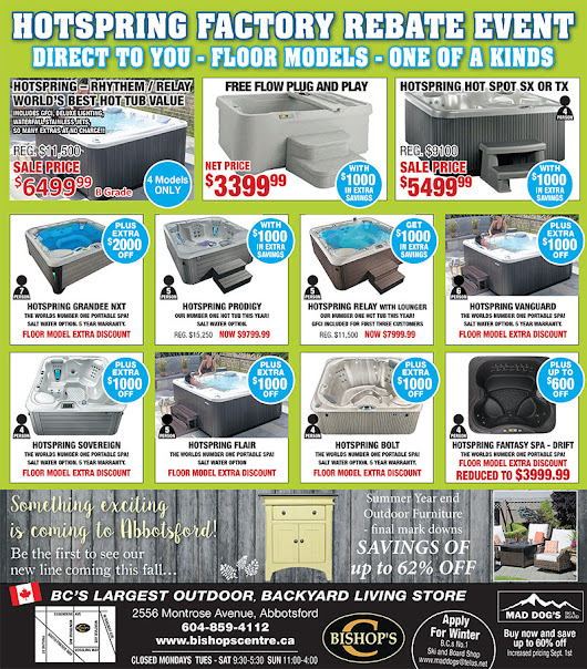 What's On Sale – Bishops Centre – Mad Dog's Ski and Snowboard Abbotsford | Bishop's Centre - Bishop's Outdoor Living / HotSpring / Fantasy Hot Tubs and Portable Spas / Mad Dog's Ski and Snowboard