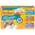 Purina Friskies Gravy Wet Cat Food Variety Pack, Tasty Treasures With Cheese - 12 - 5.5oz Cans
