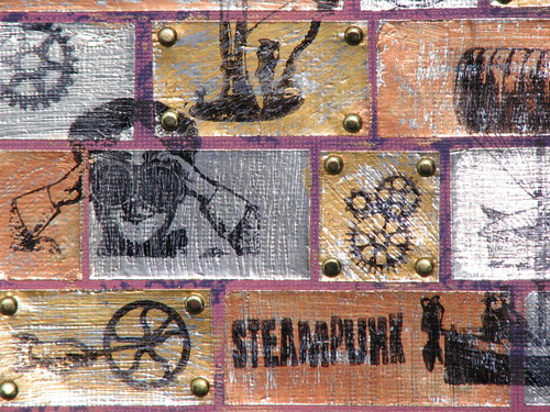 Steampunk Metal Tile Card Close Up