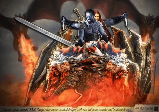 "Happy Game of Thrones day by ""Undead-four-armed Khal Drogo rides a two-headed dragon with two valyrian swords and Melisandre "" ANIMATED"
