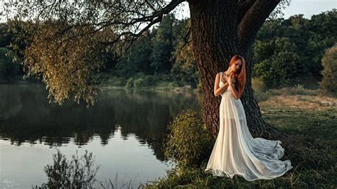 Wallpaper : women outdoors, redhead, model, nature, white