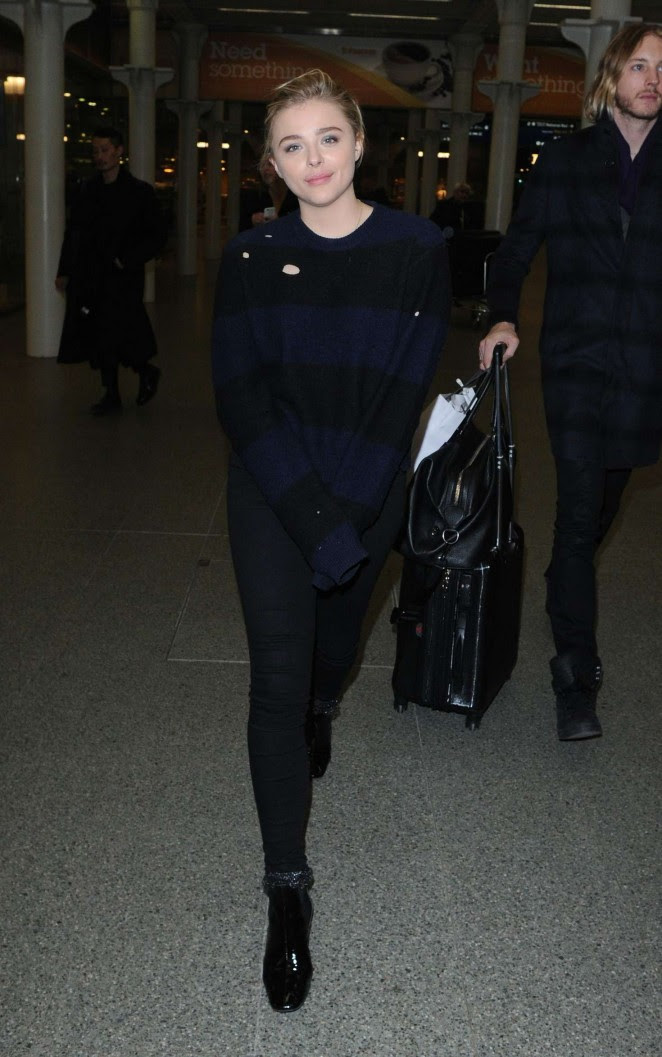 Chloe Moretz Ariving in London from Paris -08