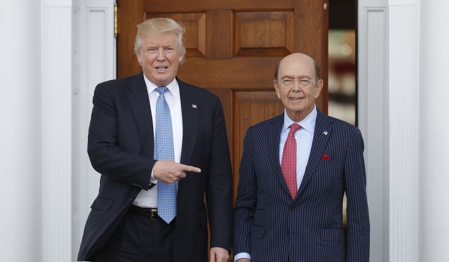 In this Sunday, Nov. 20, 2016, file photo, President-elect Donald Trump, left, stands with investor Wilbur Ross after meeting at the Trump National Golf Club Bedminster clubhouse in Bedminster, N.J. Trump is poised to offer the position of commerce secretary to the head of a private-equity firm, Wilbur Ross. (AP Photo/Carolyn Kaster)