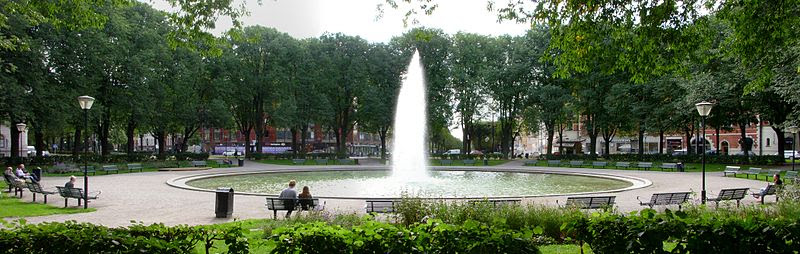 Karlaplans fontän i augusti 2011.