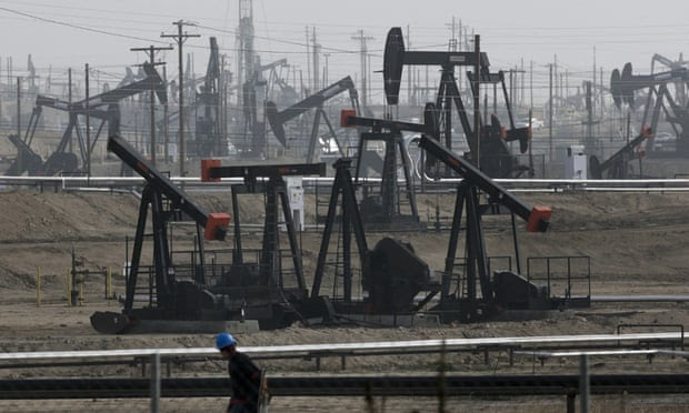 This Jan. 16, 2015, file photo shows pumpjacks operating at the Kern River Oil Field in Bakersfield, California.
