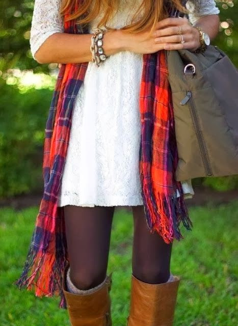 Fall fashion with lace top, scarf and leggings