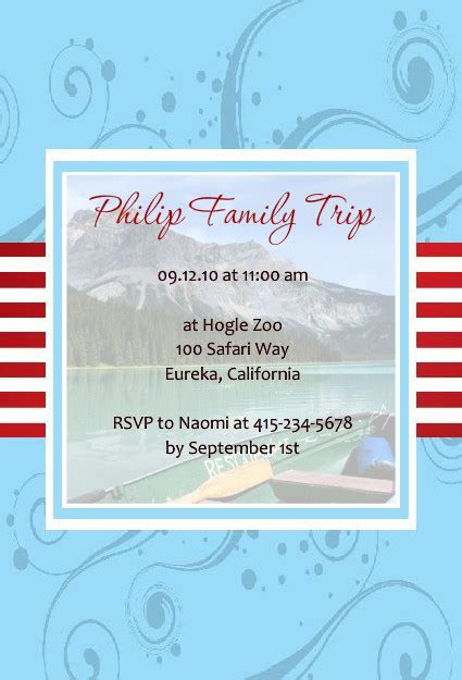 Trips and Getaway Invitations   Family Trip Invitation
