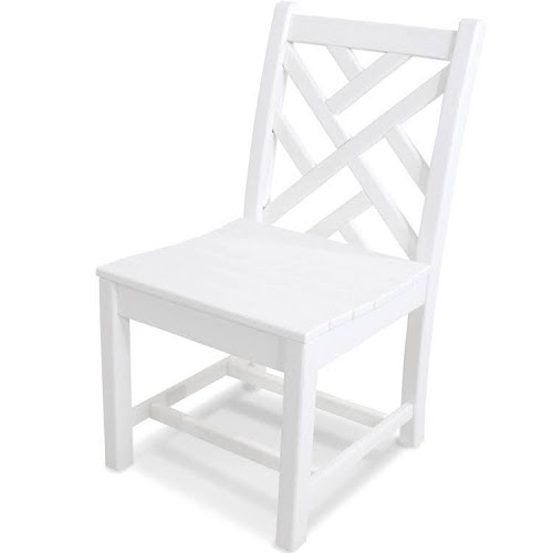 POLYWOOD Chippendale Recycled Plastic Wood Patio Dining Side Chair - White