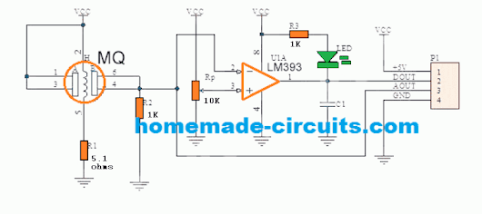 Simple Alcohol Detector Meter Circuit using MQ-3 Sensor Module - Homemade Circuit Projects