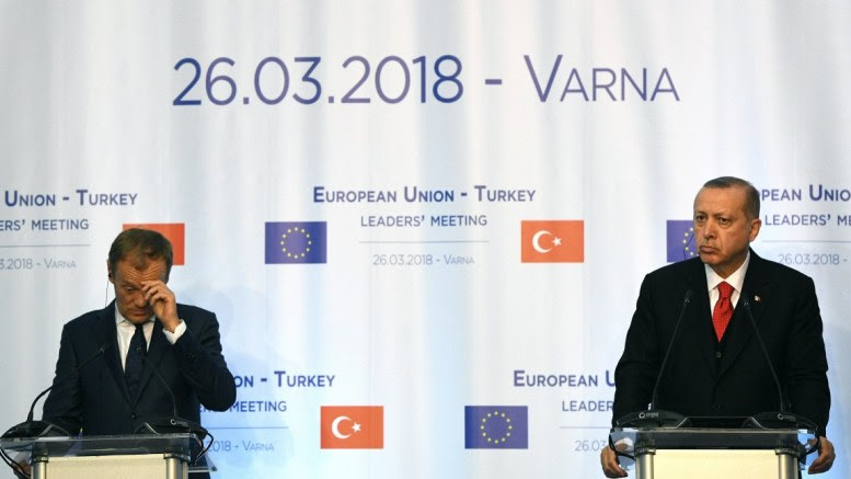 European Council President Donald Tusk (L) and Turkish President Recep Tayyip Erdogan (R) during the summit meeting between the leaders of the European Union and Turkey on at Evksinograd Residence in the town of Varna, Bulgaria on 26 March 2018. EPA, VASSIL DONEV