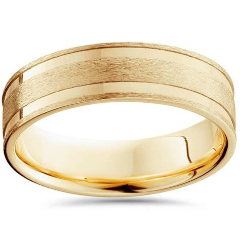 6mm 14K Yellow Gold Brushed Double Inlay Wedding Band   eBay