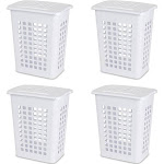 Sterilite Rectangular LiftTop Plastic Clothes Laundry Hamper Bin w/ Lid (4 Pack) by VM Express
