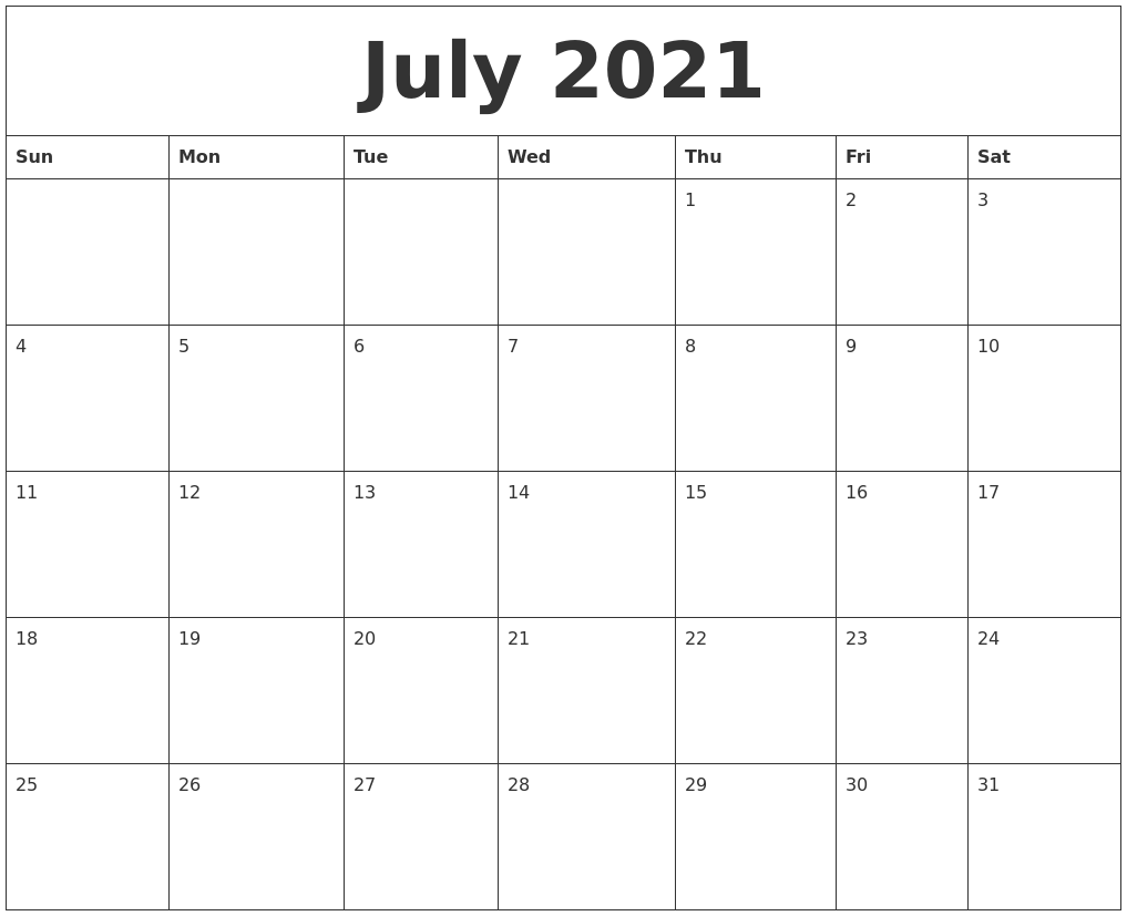 july 2021 blank monthly calendar template