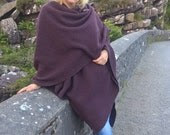 100% new wool - Irish tweed ruana , celtic wrap , cape - purple