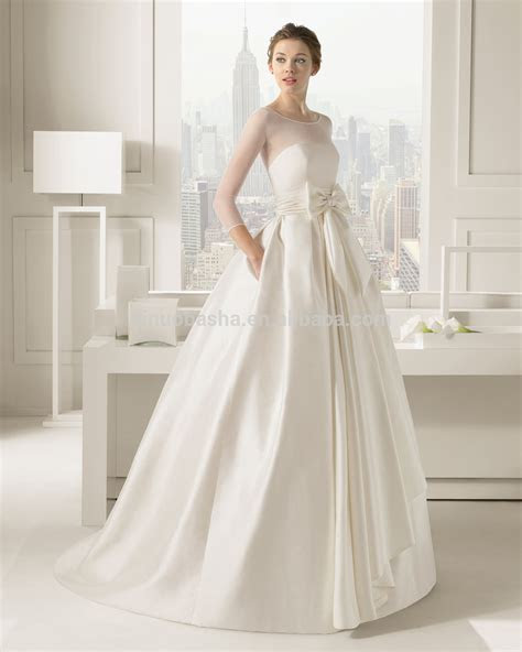 2015 Chic Ivory Ball Gown Wedding Dress Long Sleeve Sheer