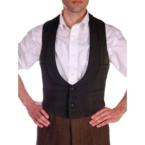 antique mens victorian  pocket shawl collar vest black